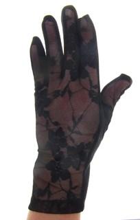 Короткие перчатки. Кружево с трикотажем