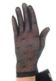 3136. Короткие прозрачные перчатки с бантиками.