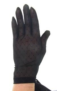 """Короткие перчатки. Сетка """"мушка"""" с трикотажем. Черные"""