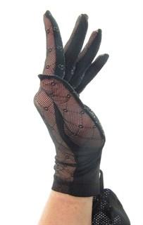 """Черные перчатки сетка """"кружочки"""" с трикотажем. 3789"""