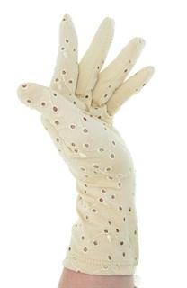 4125. Летние перчатки хлопок с вышивкой. Крем