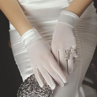 4234. Белые перчатки сетка с атласом