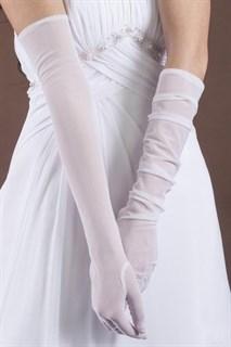 Белые длинные прозрачные перчатки