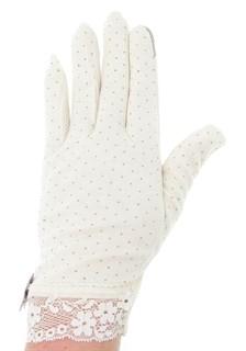 Летние перчатки в горошек сенсорные. Хлопок. Кремовые