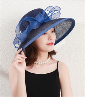 4167. Темно-синяя летняя шляпа с полями Алира