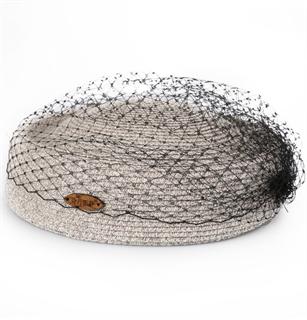 4174. Маленькая шляпка из соломки Дебора. Серая