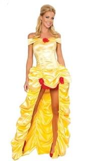 Желтое платье принцессы с длинным шлейфом