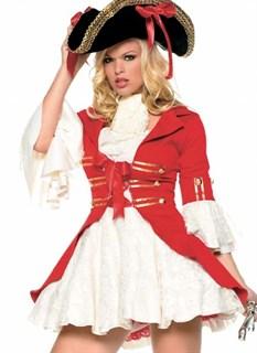 Костюм пиратки с красным велюровым камзолом и кружевной юбкой