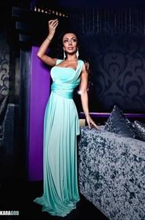 Платье трансформер из голубого масла. Юбка полусолнце с запахом