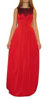 Красное платье в пол без рукавов с кружевом на лифе. 259