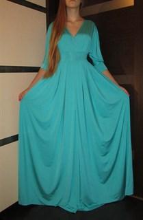 Бирюзовое платье в пол с широким рукавом