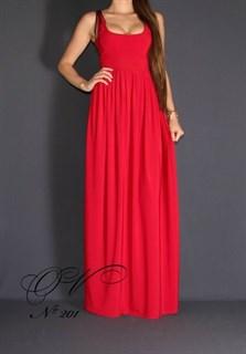 Красное платье в пол на лямках с завышенной талией. 201