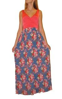 Коралловое платье в пол с юбкой в цветок
