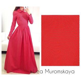 Платье в пол из красного хлопка в белый горошек - фото 5509