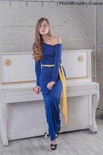 Прямое платье в пол на одно плечо темно-синее