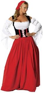 костюм баварки с длинной крсной юбкой фото