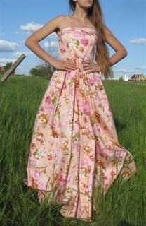 Корсетное платье в пол. Розовое
