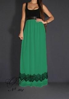 Платье в пол с зеленой юбкой и кружевом по подолу.204