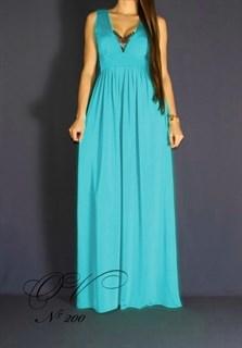 Бирюзовое платье в пол с глубоким декольте и кружевом. 201