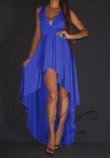 Синее платье короткое спереди и длинное сзади. 257