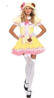 Желтое платье медвежонка с розовым подъюбником