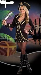 Черный костюм пираты с черепами