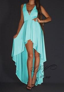 Бирюзовое короткое платье в пол с кружевом и длинным шлейфом. 257