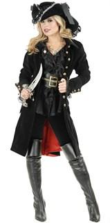 Костюм пиратки с черным велюровым камзолом и брюками