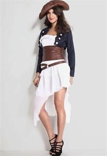 Белое платье пиратки с синим пиджаком и коричневым поясом - фото 5949