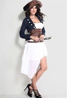 Белое платье пиратки с синим пиджаком и коричневым поясом - фото 5950
