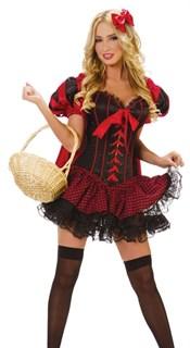 Красная шапочка с клетчатой юбкой и корсетом