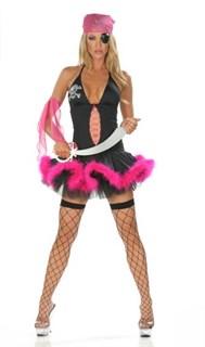 Сексапильная пиратка с розовым мехом