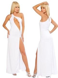 Белое платье в пол с разрезом для карнавального костюма