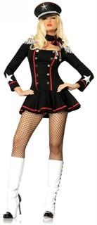 Карнавальный костюм пилота: черное платье с пуговицами
