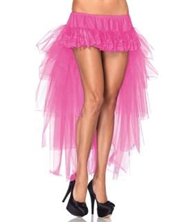 Кружевная мини юбка с длинным хвостом из сетки. Розовый