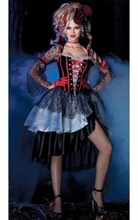 Платье вампира с многослойной юбкой и кружевными рукавами