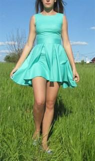Бирюзовое платье из хлопка с юбкой солонце