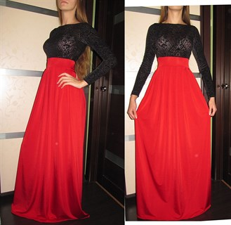 Красное платье в пол с черным бархатным верхом - фото 6445