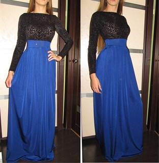 Красное платье в пол с черным бархатным верхом - фото 6446