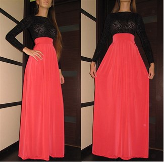 Красное платье в пол с черным бархатным верхом - фото 6449