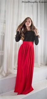 Красное платье в пол с черным бархатным верхом - фото 6451