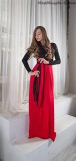 Красное платье в пол с черным бархатным верхом - фото 6452