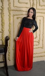 Красное платье в пол с черным бархатным верхом - фото 6453
