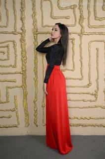 Красное платье в пол с черным бархатным верхом - фото 6454