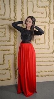 Красное платье в пол с черным бархатным верхом - фото 6455