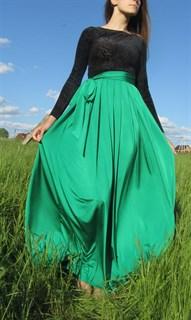 Красное платье в пол с черным бархатным верхом - фото 6461