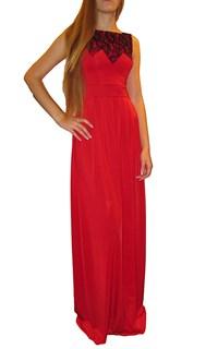 Красное платье в пол без рукавов с кружевом на лифе. 259 - фото 6466