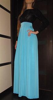 Голубое платье в пол с черным верхом из панбархата