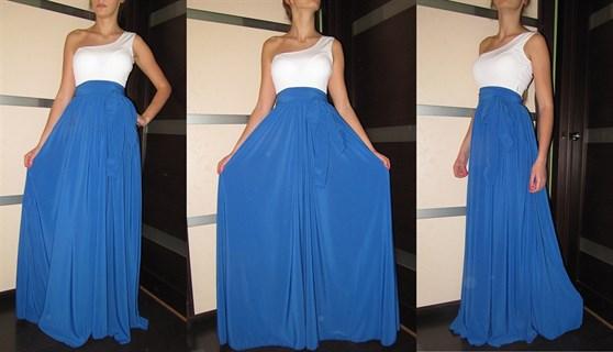 Вечернее синее платье в пол на одно плечо - фото 6507