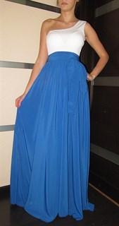 Вечернее синее платье в пол на одно плечо - фото 6509